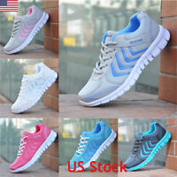 Ladies Running Trainers Womens Fitness Gym Sports Comfy Lace Up Flat Shoes Size