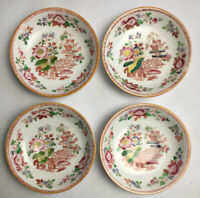 4 Chinese Hand Painted Saucers Decorated With Pagoda And Exotic Flowers