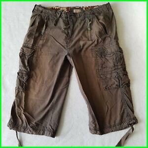 sz 36 Buffalo David Bitton Cargo Shorts Bermudas Grey Brown Long