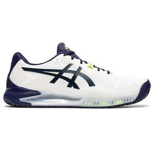 Asics Gel Resolution 8 White Mens Tennis Shoes