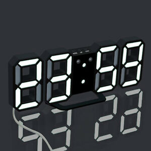 LED Digital 3D Night Wall Clock Alarm Watch Display Temperature Modern USB
