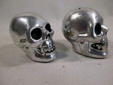 NEW BW  CHROME SKULL HEAD SALT & PEPPER SHAKERS