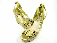 GUESS BY MARCIANO, IVONNA WEDGE SANDAL, YELLOW FABRIC LEATHER, US8M, NEW/DISPLAY