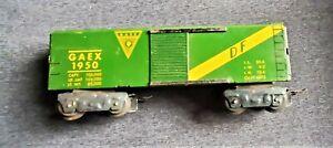 "Marx 3/16"" O GAEX 1950 Box Car on D Trucks with Metal Scissor Couplers Green"