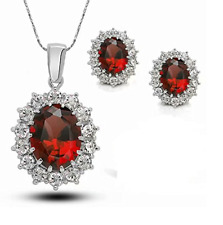 Sterling Silver Red Sapphire Pendant Necklace Earring Jewelry Set Blue Box Gift
