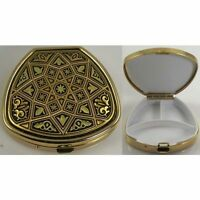 Damascene Gold Star Design Trapezoid Pill Box by Midas of Toledo Spain 8535