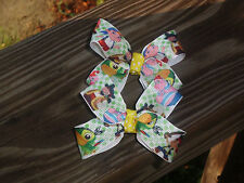 """Hair Bows Two Medium 2"""" Jake and the Pirates with a yellow center knot USA"""