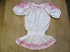 M&S PRETTY WHITE SUMMER BEACH TUNIC TOP WITH PINK EMBROIDERY UK 10 SMOCKED WAIST