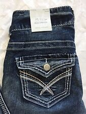 Vanity Jeans 25 Reg Mid Rise Flare Stretch Distressed Thick Stitch NWT