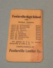 1956 Fowlerville High School Baseball Schedule Vintage Michigan Sports Souvenir