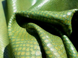 calfskin leather hide skin Mottled Green Reptile Dragon Embossed very strong