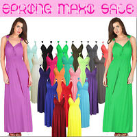 New Women Ladies Spring Coil Maxi Long Stretch Sleeveless Jersey Flared Dress UK