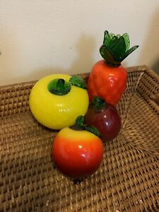 Vintage blown glass fruit set of 4