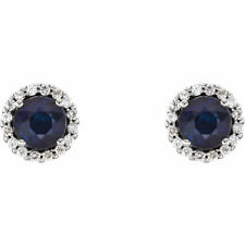 0.6ct Round Cut Blue Sapphire Classic Stud Earrings Women 14k White Gold Over