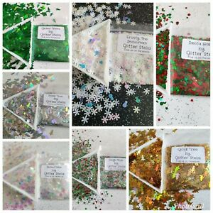 Nail Art Glitter Christmas Xmas Trees Secret Santa Tinsel Snowflake Red Green