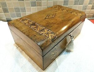 VICTORIAN TUNBRIDGE STYLE INLAID WALNUT BOX- LOVELY RELINED INTERIOR- LOCK & KEY