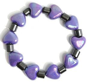 1pc Charm Light Purple Love Heart & Metallic Tube Plastic Elastic Bracelet Gift