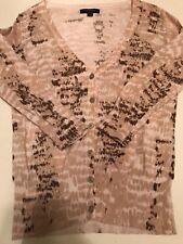 Banana Republic Snake Print Beige Button Up Cardigan Sweater Size XS Extra Small