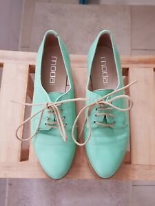 Moda Spana womens lace up loafers size 37 lime green Australian size 6.5