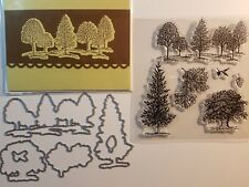 LOVELY AS A TREE Framelits Dies + stamps + handmade card - landscape acorn leaf