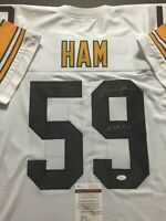 "Autographed/Signed JACK HAM ""HOF 88"" Pittsburgh White Jersey JSA COA"