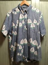 Vintage Mens Kahala Hawaiian Shirt - Xl Large - Sailboats Blue - Hawaii