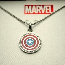 Marvel Comics Captain America Shield Channel Set SS Necklace Pendant New NOS Box