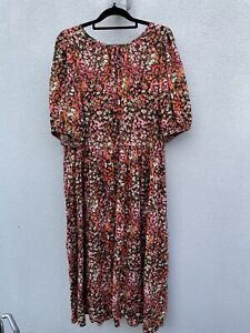 H&M puff sleeve ditsy floral midi dress XL (16-18) easy fit