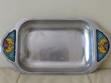 Pewter Rectangular Serving Tray with Talavera Ceramic Insert on Handle, Mexico