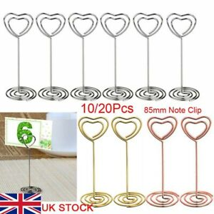 10x Heart Pattern Table Number Name Card Holder Party Memo Photo Stand Note Clip