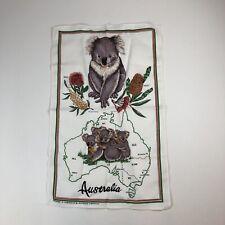 New Unused Pure Linen AUSTRALIA Souvenir Kitchen Towel KOALAS Plants