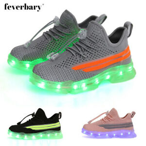 Kids Trainers Boys Girl Fashion LED Light Up Sport Shoes School Sneakers Comfort