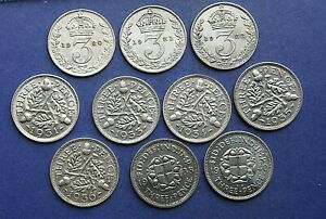 10 Silver Three pence's 1920 to 1940