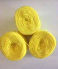 Lace yarn Crystal Color 177 B Yellow..Acrylic /Rayon. 900 yards Each.1 lot of 3.