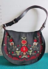 """Purse,Black w/Embrordered Red Trim & Multi-colored Flowers, Polyester,12"""" Strap"""