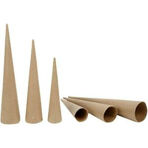 3 Assorted Paper Mache Cones to Decorate 20, 25 & 30cm Tall | Papier Mache Boxes