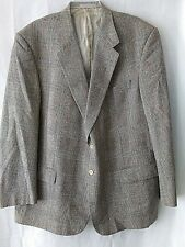 Vtg  Mens 48R Silk Two Button Brown Plaid Houndstooth Blazer Sport Coat Jacket