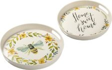 """New!~Tray Set of 2 ~ Bumblebee Flower """"Home Sweet Home""""~Home Decor~Bee"""