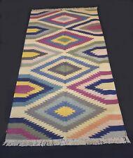Indian Handmade Cotton Geometric Area Rug Runner Carpet 75 x 180 Cm DN-440
