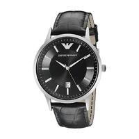 Emporio Armani AR2411 Men's Watch Black Leather Strap Black Dial Silver SS Case