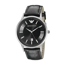 Emporio Armani AR2411 Men's Watch Black Leather Strap Black Dial Silver SS Case