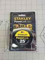 Stanley PowerLock 25ft Tape Rule Measure # 33-425 Ruler - Carded 7ft Standout