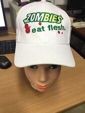 'Zombies Eat Flesh' Embroidered Novelty Zombie White Baseball Cap (Free UK P&P)
