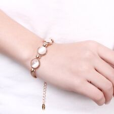 Women White Stone Cirlcle Link Bracelet 18K Rose Gold Plated Adjustable With Box