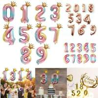 "32"" Colorful Crown Number Foil Balloons Digit Ballon Baby Birthday Party Decor"