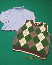 Childrens Place 24 M Green Argyle Vest Baby Blue Turtleneck Lot 2 Toddler Boy