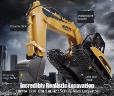 HUINA 1550 1:14 2.4GHz 15CH RC Alliage Excavateur RTR Ingénierie RC Car JAUNE