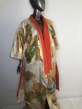 Japanese Kimono CEREMONIAL Vintage Authentic White Gold Silk Kimono With Birds .