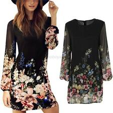 Summer Women Chiffon Long Sleeve Floral Evening Party Beach Casual Mini Dress