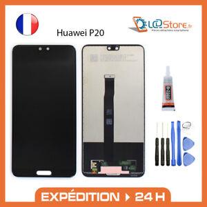 Ecran lcd + vitre tactile Huawei P20 noir EML-L09 + colle + outils